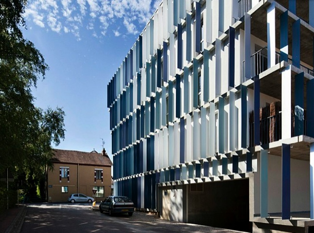 Chl Social Housing Is Clad With Bright Blue Louvers For